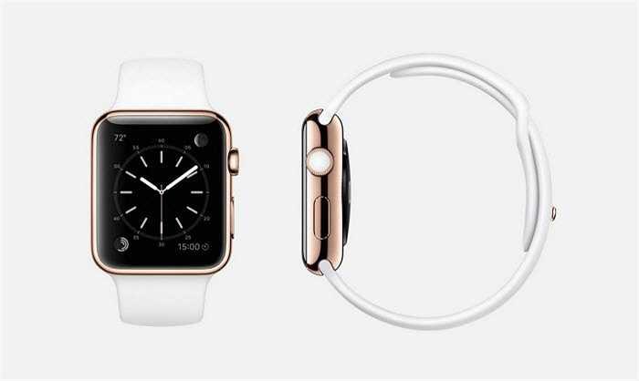 Apple Watch Edition phiên bản vàng đặc biệt có khung vàng hồng bằng vàng 18 karat, dây đeo màu trắng, pin cũng được bọc bằng vàng 18 karat, màn hình Retina tinh thể sapphire và mặt sau bằng gốm.