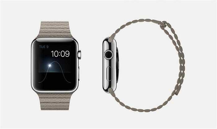 Phiên bản dây đeo da kết hợp đá của Apple Watch chỉ có kích thước 42 mm, nắp từ, màn hình Retina tinh thể sapphire và mặt gốm phía sau.