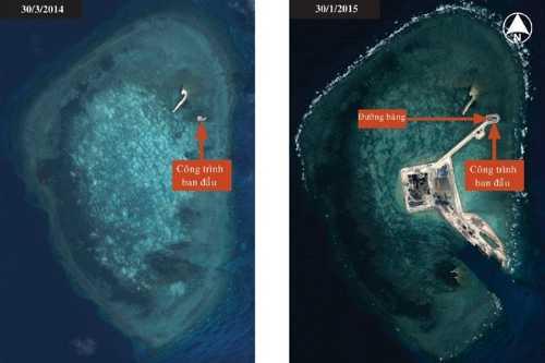 Trung Quốc mở rộng công trình trên đá Gaven thuộc quần đảo Trường Sa của Việt Nam