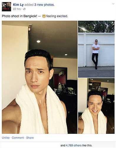 Nam diễn viên Kim Lý cũng đang ở Bangkok, Thái Lan để thực hiện một bộ ảnh.
