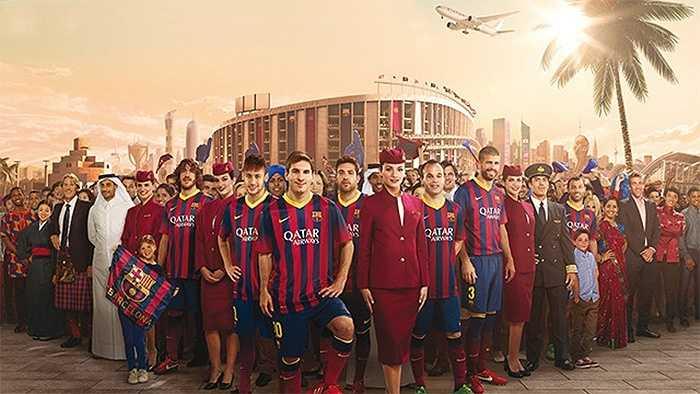 Barca từng nói không với quảng cáo áo đấu nhưng trước lời đề nghị 25 triệu bảng/năm của Qatar Airways, họ đã xiêu lòng