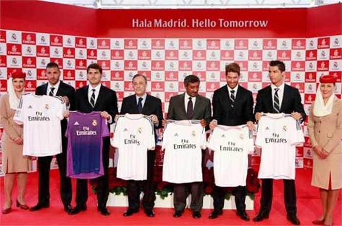 Cũng đạt mức 25 triệu bảng/năm còn có Real Madrid. Kền kền trắng có chung nhà tài trợ Emirates với Arsenal
