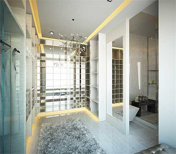 Phòng tắm tiện nghi của vợ chồng Công Vinh – Thủy Tiên.
