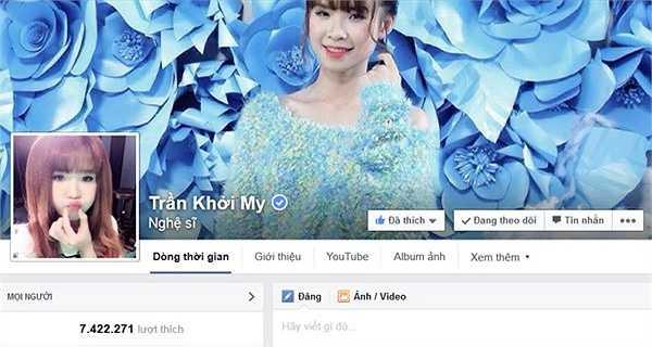 Hiện nay Khởi My có tới 2 fanpage gồm Trần Khởi My với lượng theo dõi lên đến hơn 7,4 triệu và Khởi My có hơn 5,4 triệu follow. Con số này vẫn còn tăng lên theo từng ngày.