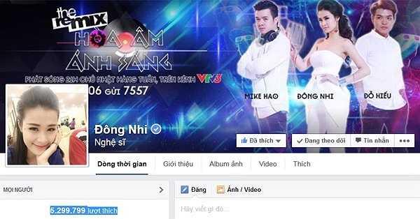 Đứng thứ 6 là ca sĩ Đông Nhi với gần 5,3 triệu lượt like. Đông Nhi là ca sĩ có sự thay đổi ngoạn mục từ dòng nhạc teen từng 'làm mưa làm gió' đến dòng nhạc dance sôi động.