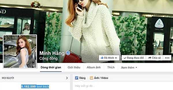 Mới ngày nào Minh Hằng vui mừng khoe với mọi người cô bắt đầu có fanpage và rồi hạnh phúc khi có 1 triệu người quan tâm thì hiện nay con số đó đã tăng lên gấp 5, chính xác là 5.182.599 lượt follow.