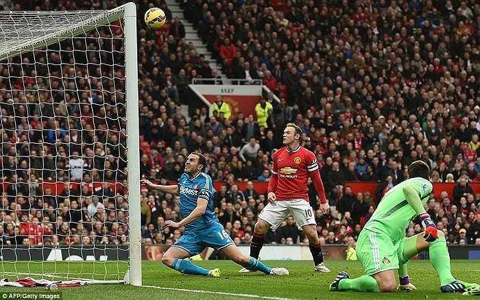Các cầu thủ chủ nhà Man Utd có cơ hội đầu tiên ở phút thứ 3, nhưng cú đánh đầu của Rooney không chính xác.