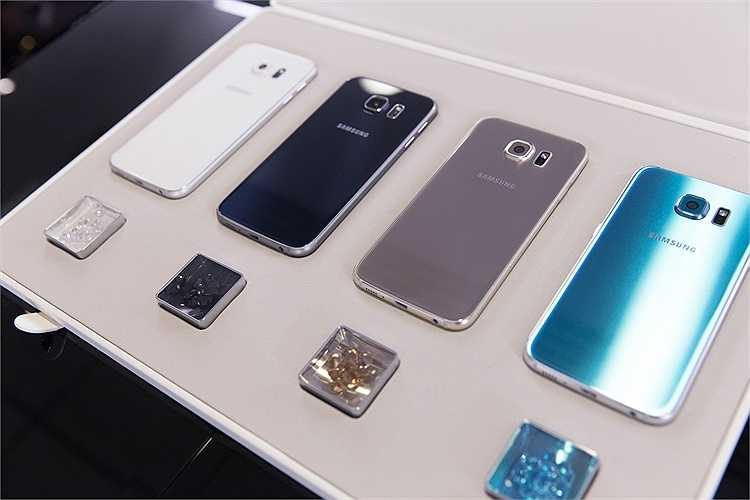Galaxy S6 có các màu sắc trắng, đen, vàng và xanh lam. Máy sẽ được bán ra vào 10/4 tới.