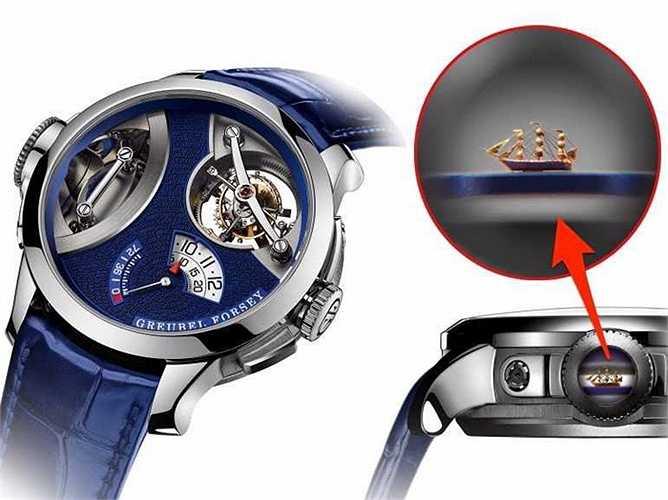 Art Piece 1 (Giá: 1,7 triệu USD): Không chỉ hội tụ đầy đủ các yếu tố của một chiếc đồng hồ đẳng cấp cao nhất, sản phẩm của Greubel Forsey còn được khắc một chiếc thuyền buồm siêu nhỏ ở nút xoay được làm thủ công bởi nghệ sỹ nổi tiếng người Anh, Willard Wigan.