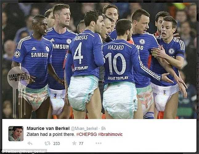 Các sao Chelsea đóng bỉm như trẻ con