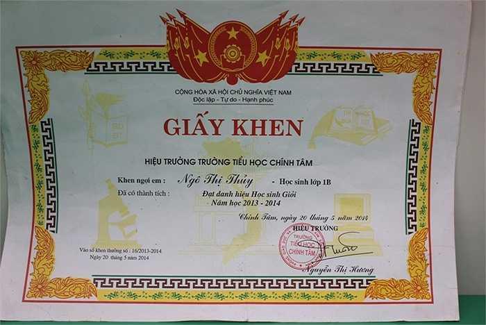 Em Thủy hiện đang là học sinh lớp 2, trưowngf Tiểu học Chính Tâm (Ninh Bình). Bằng sự cố gắng của bản thân, Thủy luôn giành được kết quả xuất sắc trong học tập.