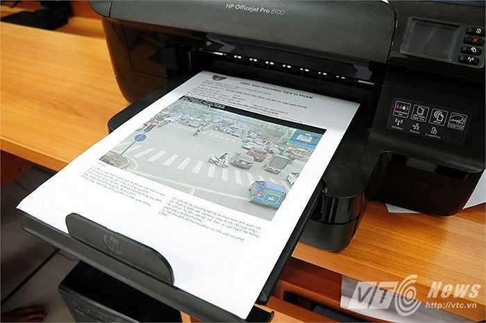Thông tin về xe vi phạm được in ngay sau khi camera ghi lại, làm cơ sở xử phạt các trường hợp vi phạm.