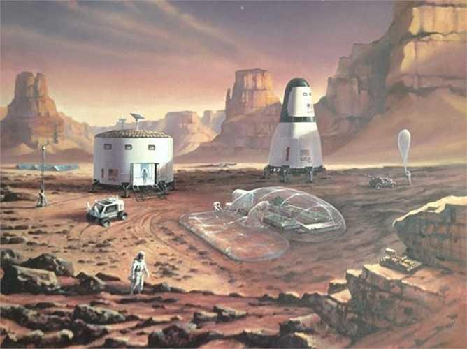 Một hình vẽ minh họa của một họa sĩ về cuộc thám hiểm Sao Hỏa trong tương lai.