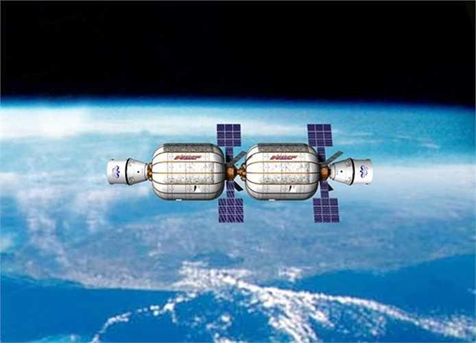 Đây là Khách sạn Không gian Bigelow. Mỗi cơ sở bơm hơi này có khối lượng 330 mét khối, có thể chứa đến 12 người cho một chuyến đi ngắn không quá 180 ngày.