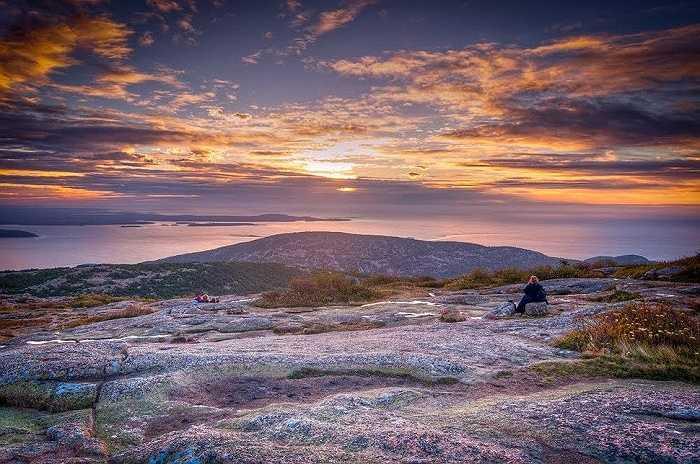 Mặt trời mọc ở công viên quốc gia Acadia – Maine, Mỹ