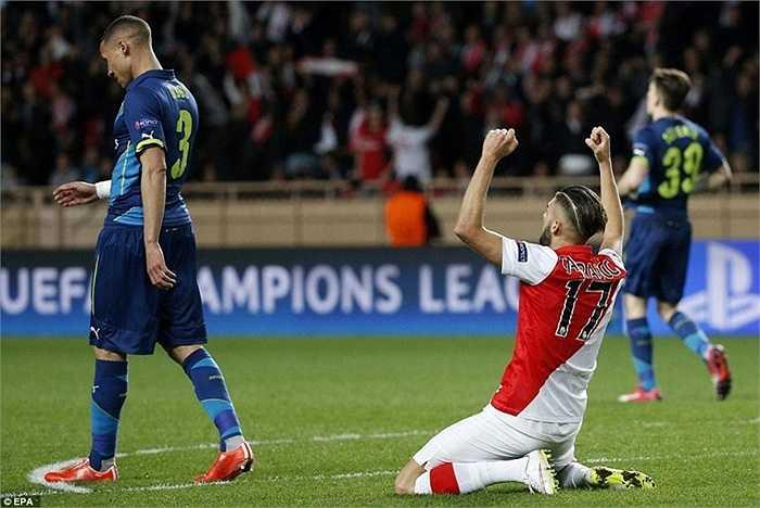 AS Monaco được coi là yếu nhất trong số 16 đội vòng 1/8 nhưng Arsenal vẫn không thể tận dụng được