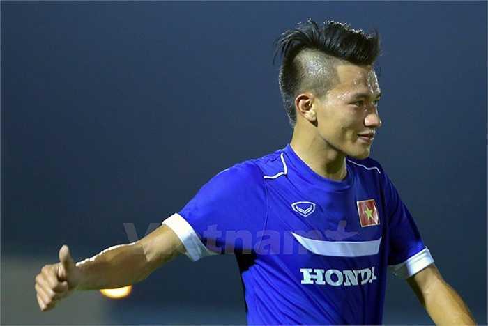 Niền vui của tiền vệ SHB Đà Nẵng khi ghi bàn cho U23 Việt Nam. (Ảnh: Vietnamplus)