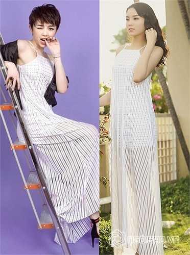 Cùng lựa chọn váy maxi trang nhã, trong khi Hoa hậu Kỳ Duyên cho thấy vẻ đẹp thánh thiện, nữ tính thì ca sĩ Tóc Tiên lại phá cách, tinh nghịch khi kết hợp cùng áo khoác da