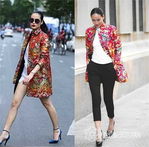 Thanh Trúc và người mẫu Trang Khiếu cùng chọn áo khoác gấm hoa, rực rỡ. Mỗi người một cách kết hợp nhưng chiếc áo khoác đều mang lại vẻ đẹp cá tính và cổ truyền cho các người đẹp