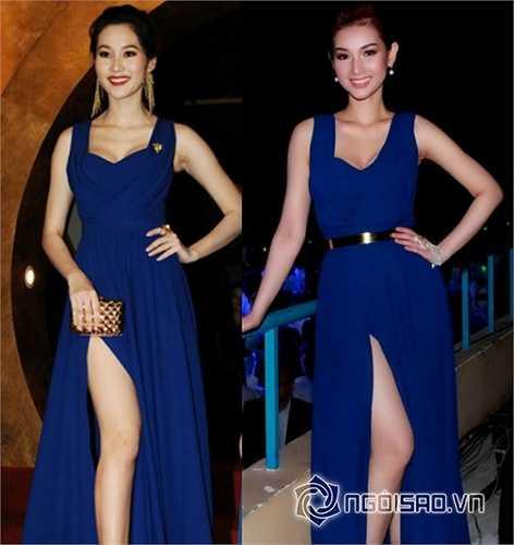 Hoa hậu Đặng Thu Thảo và Quỳnh Chi 'đụng' nhau từ chiếc đầm dạ hội sang trọng cho tới cách tạo dáng, nhằm khoe đôi chân nuột nà