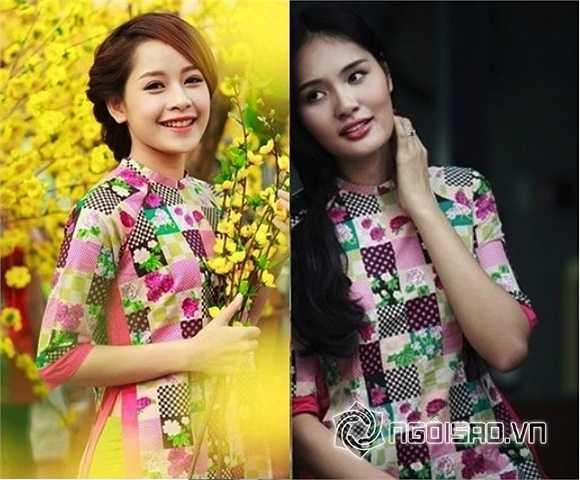 Cùng một chiếc áo dài hoa nhưng mang lại hình ảnh khá tương phản cho hai người đẹp:  Chi Pu tươi sáng trong khi Hương Giang lại mang vẻ đẹp trầm lắng, cổ điển