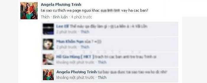 Tháng 9/2011, khán giả bất bình khi nhìn thấy những lời lẽ thiếu đẹp đẽ từ một tài khoản trên mạng xã hội được cho là của Angela Phương Trinh trên anti-fanpage của mình.