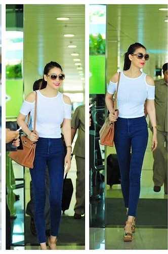 Gu thời trang sân bay của mỹ nhân họ Trương cũng rất tươi mới.