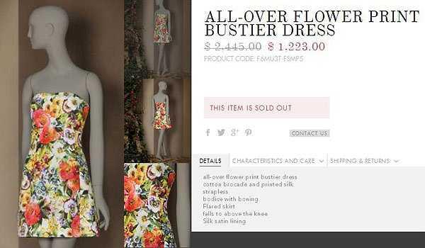 Trên website của hãng, chiếc váy có giá gốc là 2.445 USD (hơn 50 triệu đồng) và đã giảm giá 50% trước khi 'cháy hàng'.