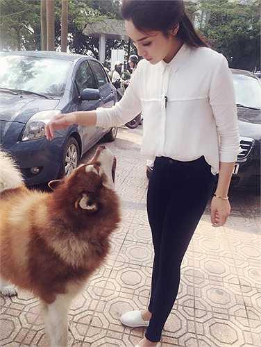 Hoa hậu Kỳ Duyên chơi đùa cùng thú cưng.
