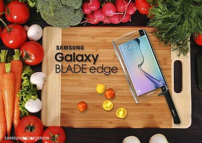 Samsung giới thiệu siêu phẩm Galaxy Blade Edge: Ngày nối dối mở đầu khi blog của Samsung thông báo, họ ra mắt smartphone kiêm dao thông minh Galaxy Blade Edge. Chiếc điện thoại '2 trong 1' này sở hữu tất cả tính năng mạnh mẽ trên Galaxy S6 và đảm nhiệm luôn vai trò của một con dao đa dụng.