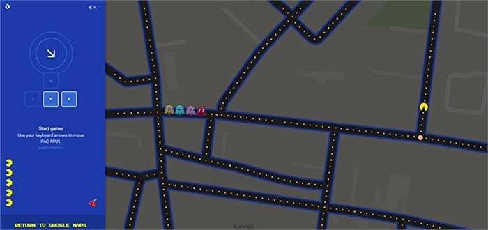 Google Maps phiên bản Pac-Man: Đây là trò đùa kế tiếp của gã khổng lồ tìm kiếm. Họ giới thiệu ứng dụng bản đồ với giao diện của trò chơi Pac-Man nổi tiếng. Phiên bản dẫn đường đặc biệt này cho phép người dùng chọn lựa một khu vực bất kỳ, sau đó ấn vào biểu tượng Pac-Man ở góc trái màn hình để bắt đầu trải nghiệm.