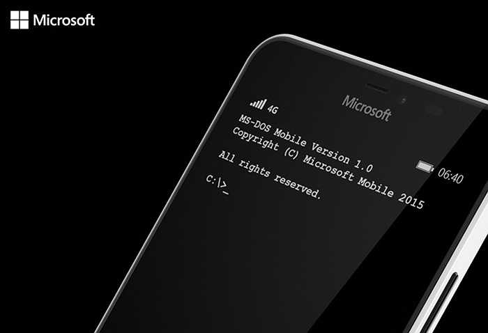 Smartphone sử dụng nền tảng MS-DOS: Những chiếc điện thoại thông minh đang khiến gia tăng hội chứng nghiện internet, mắt kém và trí não con người cũng ngày một trì trệ hơn. Để giải phóng nhân loại khỏi sự lệ thuộc vào smartphone, Microsoft quyết định đưa người dùng di động về thời… nguyên thuỷ.