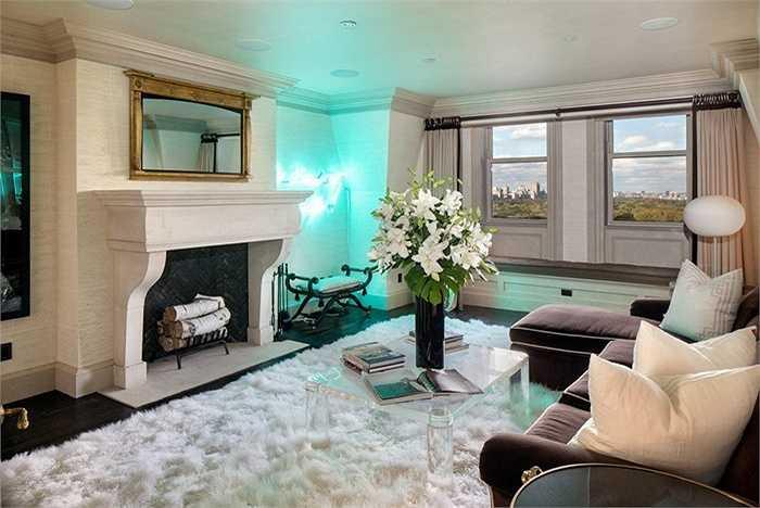 Và đây là phòng khách với lò sưởi, đèn neon xanh huyền ảo và có tầm nhìn ra Công viên Trung tâm Central Park.