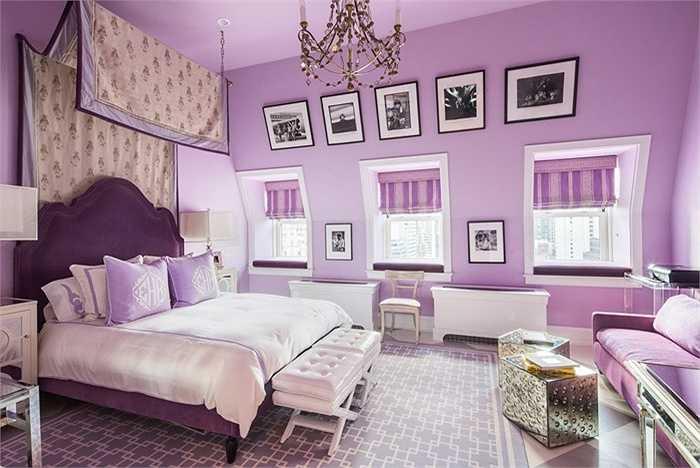 Phòng ngủ màu tím lãng mạn, có thể dành cho những cô nàng tuổi teen mộng mơ.