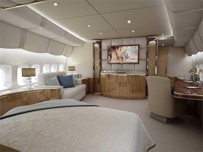 Một góc siêu đẹp của phòng khách trên máy bay