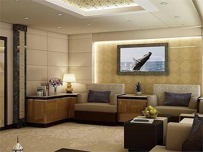 Bàn ghế, tv và trần nhà sử dụng màu sắc trang nhã