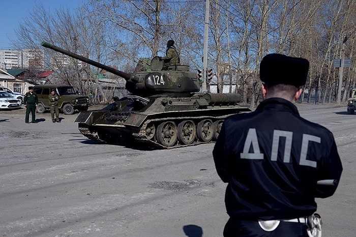 Các phương tiện trong buổi tập đầu tiên ở Yekaterinburg