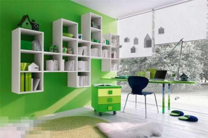 Thư phòng không được dùng màu xanh lục. Nó khiến ý chí của bạn dần dần suy yếu. Bạn không thể tập trung được tinh lực vào công việc.