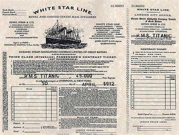 Bức ảnh chụp lại chiếc vé hạng ba của chuyến tàu Titanic vào ngày 10 tháng 4, 1912.