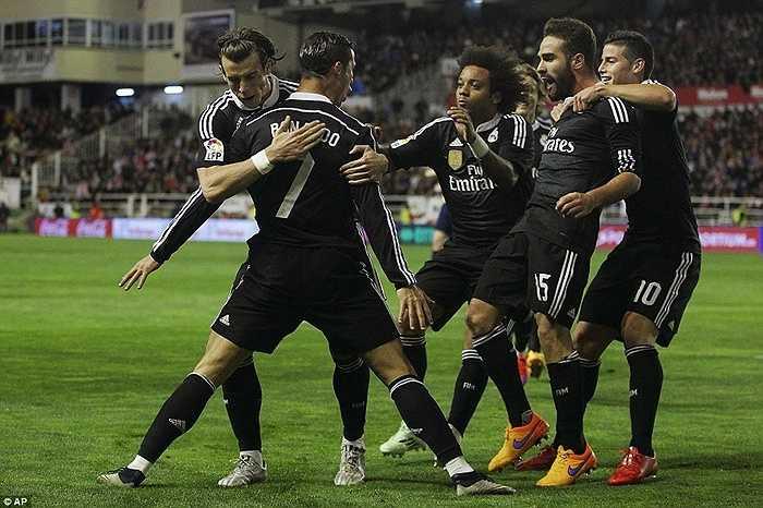 300 bàn Ronaldo ghi cho Real Madrid trong vòng 288 trận, bao gồm 206 bàn bằng chân phải, 52 bàn bằng chân trái, 41 bàn đánh đầu và 55 quả phạt đền