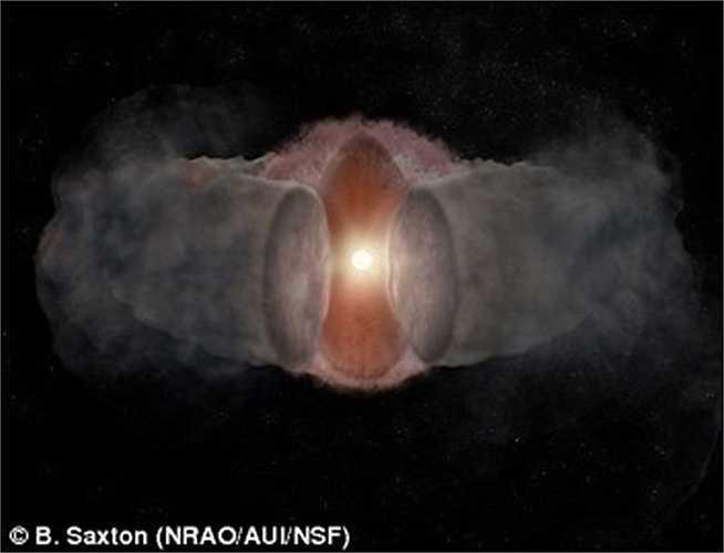Hình ảnh mô phỏng sự phát triển của W75N (B) -VLA-2. Các vùng khí nóng từ ngôi sao trẻ mở rộng theo chiều ngang, ảnh chụp năm 1996.