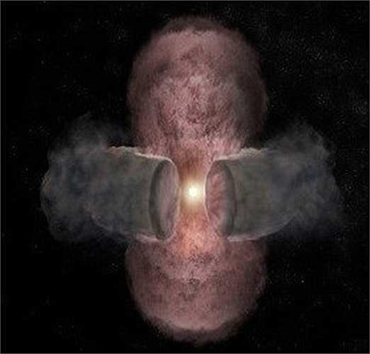 Trong quá trình hình thành của ngôi sao, vành đai bụi vũ trụ sẽ ức chế sự phát triển của vùng khí nóng, ép về phía hai cực, là giai đoạn đầu tiên trong sự hình thành của một ngôi sao mới. Bức ảnh chụp năm 2014 cho thấy rõ quá trình.