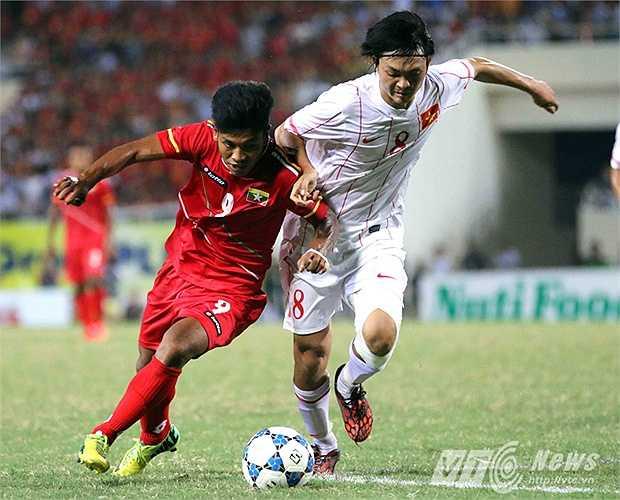 Dấu ấn đặc biệt về Tuấn Anh ở giải đấu này được ghi nhận trong trận bán kết gặp U19 Myanmar. (Ảnh: Quang Minh)