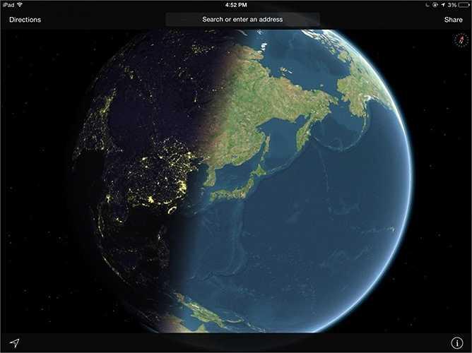 3. Khi bạn chọn chế độ 'vệ tinh' trên ứng dụng Apple Maps, bạn có thể nhìn thấy ánh sáng mặt trời đang dần chiếu tới các vùng trên Trái đất như những gì đang diễn ra ngoài vũ trụ