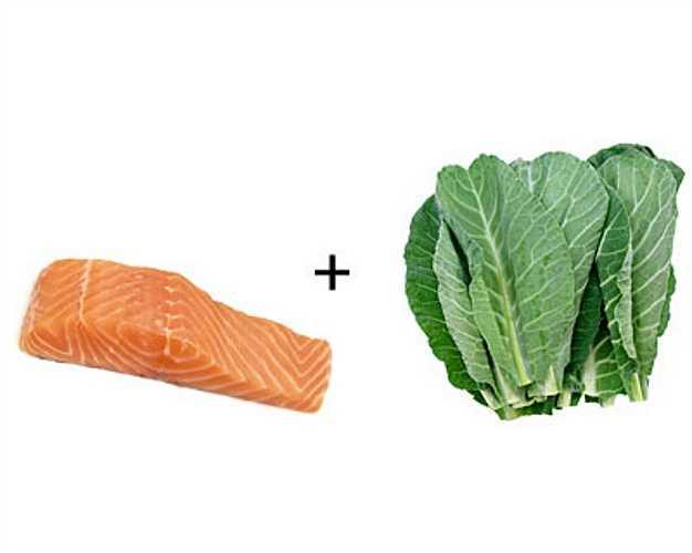 Cá hồi + cải xanh: Cải xanh giúp làm tăng khả năng hấp thụ vitamin D trong cá hồi, tăng cường canxi cho cơ thể.