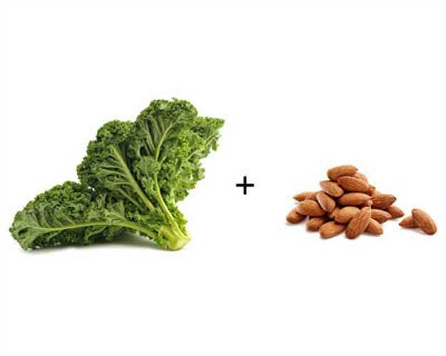 Cải xoăn + hạnh nhân: Cải xoăn giàu vitamin K, E, chất chống oxy hóa khi kết hợp với hạnh nhân sẽ làm tăng khả năng hấp thụ của cơ thể giúp tăng cường hệ miễn dịch, chống ung thư.