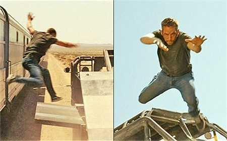 Cảnh mạo hiểm tiếp theo trong phần 5 Fast Five là khi Brian nhảy ra khỏi đoàn tàu hỏa đang chạy để cứu Mia.