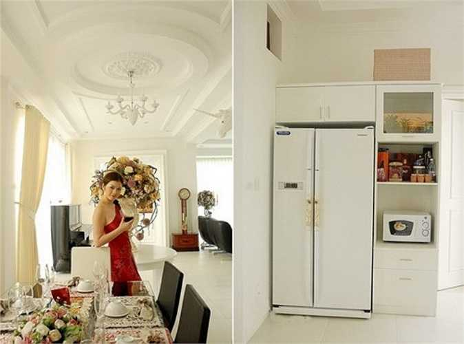Biệt thự được thiết kế theo phong cách châu Âu cổ điển, với tông màu trắng yêu thích của Lý Nhã Kỳ.