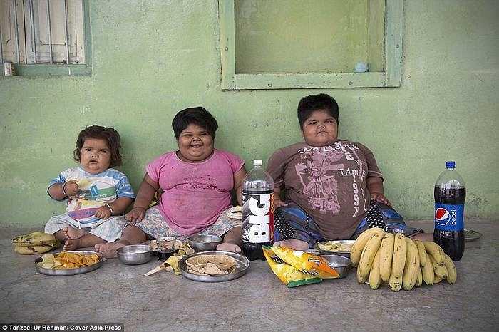 Lượng thức ăn mà 3 chị em ăn trong một tuần bằng khẩu phần ăn cả tháng của 2 gia đình bình thường. Mỗi ngày bé Harsh uống 8 cốc sữa, còn hai chị gái Yogita và Anisha thì ăn 8 chiếc bánh mỳ, 2 kg gạo và ba bát canh, 6 gói khoai tây chiên, 5 gói bánh, hơn chục quả chuối và 1 lít sữa.