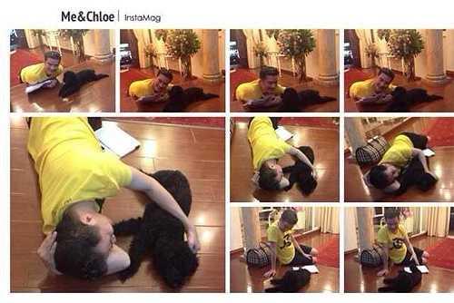 Nam HLV The Voice giản dị mặc đồ ở nhà, nằm lăn trên sàn vừa ôm vừa đùa giỡn với chú chó cưng.